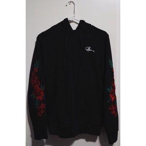 Black Hoodie/ Rose Embroidery